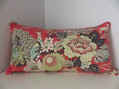 Coral Linen Lumbar Pillow Cover-Peacock and Floral Print Pillow Cover-Asian Print Pillow Cover- Kaufmann Portobello Vase Print Pillow Cover