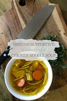 Immune-Supportive Turmeric-Ginger Chicken Noodle Soup | Growing Up Herbal | If you're looking for healthy foods for cold and flu season, you won't want to miss this spicy, immune-supportive turmeric-ginger chicken noodle soup!