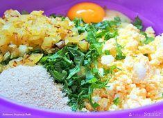 Kotleciki jajeczne z rukolą - przepis ze Smaker.pl Grains, Rice, Food, Diet, Essen, Meals, Seeds, Yemek, Laughter