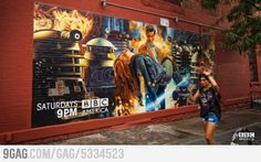 Awesome mural for Doctor Who in Brooklyn, New York. I N MY COUNTRY!! I seriously feel like all the stuff like this is in Britain. I might be able to go to New York and see this. If I could find it... BUT THIS IS SOOOOO COOL!
