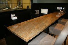 Juhas-Sullivan  Kashmir Gold Granite Counter Granite Tops, Granite Counters, Kitchen Tiles, Butcher Block Cutting Board, Backsplash, Commercial, Projects, Gold, Log Projects