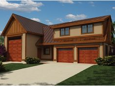 Traditional Style Garage Plan with 1173 Square Feet and 2 Bedrooms from Dream Home Source | House Plan Code DHSW077175