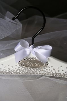 Bridal Hanger Wedding Dress Hanger Personalized by BlackBowHangers, $99.00