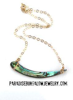 New Zealand Abalone Paua Tusk Gold Bar by ParadiseBungalow on Etsy
