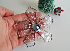 Stained Glass Snowflake Christmas Ornament