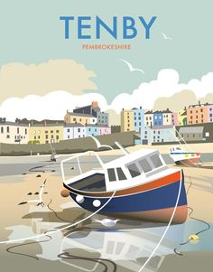 This Tenby Art Print is created using state of the art, industry leading Digital printers. The result - a stunning reproduction at an affordable price. A stunning Art Print featuring the design of Tenby, Pembrokeshire, Wales. Posters Uk, Railway Posters, Art Deco Posters, Cool Posters, Vintage Travel Posters, Poster Vintage, Vintage Labels, Art Deco Design, Vintage Advertisements