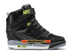 Nike Air Revolution Sky Hi GS Chaussure Montante Nike Pas Cher Pour Femme Noir/Vert 599410-012