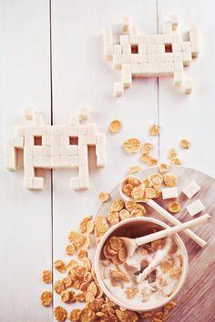 Geek Art - Space Invader made of sugar for breakfast