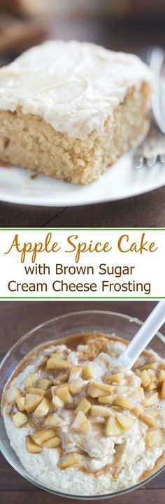 Love Wedding Cakes Apple Spice Cake with Brown Sugar Cream Cheese Frosting with real apple chunks, a smooth and creamy frosting and all of your favorite fall flavors wrapped into one. This easy cake is one of our favorites! Brownie Desserts, Apple Desserts, Mini Desserts, Fall Desserts, Apple Recipes, Just Desserts, Delicious Desserts, Cake Recipes, Dessert Recipes