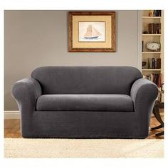 online shopping for Stretch Metro Box Cushion Sofa Slipcover Sure Fit from top store. See new offer for Stretch Metro Box Cushion Sofa Slipcover Sure Fit Grey Loveseat, Loveseat Covers, Sofa Couch, Loveseat Slipcovers, Gray Sofa, Cushions On Sofa, Couches, Furniture Slipcovers, Box Cushion