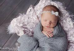 Gray Stretch Knit Newborn Baby Wrap | Beautiful Photo Props
