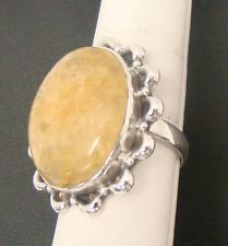 YELLOW COLOR GEMSTONE CABOCHON OPAQUE RING 9.5g STERLING SILVER 925 SIZE 9
