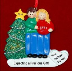 Excited & Expecting Couple MBR FBL Personalized Christmas Ornament