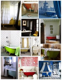 For your inspiration: A bevvy of beautiful, and boldly colored clawfoot tubs.