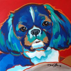This Shih Tzu was a 12x12 pop art acrylic dog portrait commission on canvas.  The requested color scheme was blue, green and brown. More pet art at www.karrenmgarces.com.  Commissions welcome.