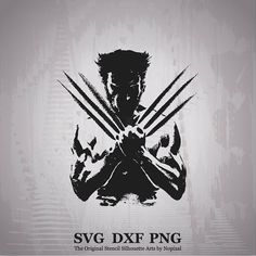 SVG DXF PNG Wolverine Marvel Stencil Silhouette Arts