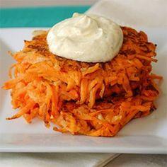 Maple Sweet Potato Cakes with Curried Greek Yogurt