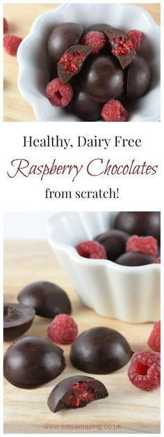 Really quick and easy dairy free chocolates recipe from Eats Amazing UK - with homemade healthy coconut oil chocolate made from scratch - vegan, gluten free, nut free and free from refined sugar too!