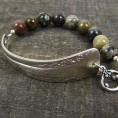 Spoon handle bracelet with silver leaf jasper beads 7 and 1/4 inches. $18.00, via Etsy.laurelmoonjewelry