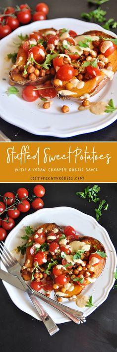 Stuffed Sweet Potatoes with Roasted Garbanzos and Vegan Garlic Sauce. Main Dishes, Side Dishes, Creamy Garlic Sauce, Great Appetizers, Roasted Potatoes, Bruschetta, Lettuce, Sweet Potato, Veggies