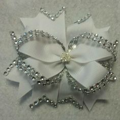 Bright white hair bow with rhinestones