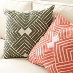 Geometric embroidered pattern on linen pillow cover. Lulu Embroidered Pillow from Ballard
