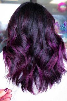 Purple balayage purple balayage # brunette # purple hair purple and black hair Purple Hair balayage Black brunette hair purple Dark Purple Hair, Hair Color Purple, Hair Dye Colors, Hair Color For Black Hair, Cool Hair Color, Purple Hair Tips, White Hair, Black To Purple Ombre, Purple Hair Styles