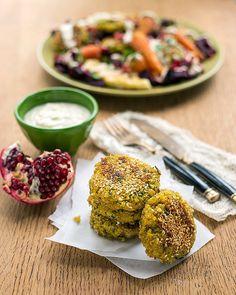 Falafel with Roasted Vegetables and Tahini Yogurt Dressing
