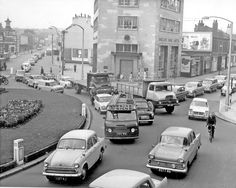 Junction of London Road and Cemetery Road from The Moor, No 2, Barclays Bank, Locarno Ballroom (former Lansdowne Picture Palace) in background