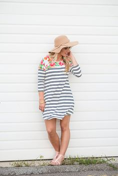 Floral Striped Tunic Dress - My Sisters Closet