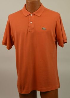 Lacoste Mens 5 US M 100% Cotton Orange Polo Shirt Used #Lacoste #PoloRugby