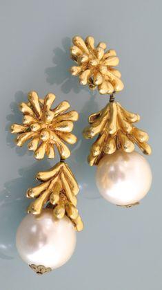 Vintage Christian Lacroix Anemone Pearl Drop Earrings