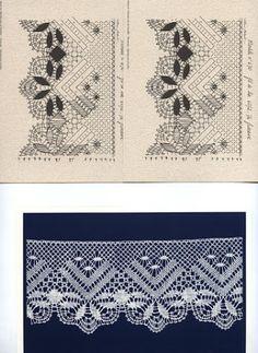 Album Archive - Pochette n 7 Picot Crochet, Crochet Borders, Crochet Trim, Crochet Stitches, Bobbin Lace Patterns, Crochet Patterns, Bobbin Lacemaking, Lace Curtains, Diy Headband