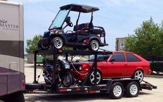 Double-decker trailer featuring 1986 Chevette