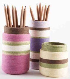 Office Organization | Yarn Wrapped Jar | DIY Organization Ideas from @Jo-Ann Fabric and Craft Stores