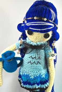 AQUARIUS HOROSCOPE Crochet Art Doll. Closeup. She is handmade in free form and originally designed by me. OOAK. She may now be viewed in my Etsy Shop - CreativeChaosMNL
