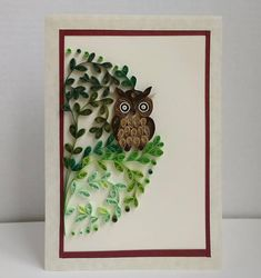 Check out this item in my Etsy shop https://www.etsy.com/listing/572365978/quilled-picture-owl-in-the-wood