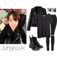 Jungkook on ASC Inspired by btsoutfits on Polyvore featuring mode, H&M, Topshop, Dr. Martens and Waterford