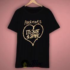 Paramore Just Spark T-shirt, the picture will be printed using Direct To Garment Printing Technology in full color with durable photo quality Paramore Shirt, Paramore Hayley Williams, 80s Tees, Pregnant Halloween, Shirt Quilt, Photo Quality, My Style, Mens Tops, T Shirt