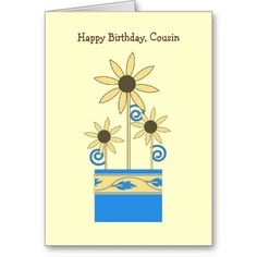 Birthday, Cousin, Daisies, in blue container Cards