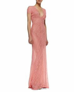 Short Sleeve Lace Column Gown, Coral by Naeem Khan at Bergdorf Goodman.