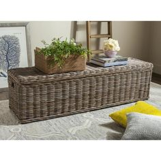 Keep your style simple and natural with the Safavieh Caius Wicker Indoor Storage Bench . Crafted from sustainable, woven rattan kubu with a natural. Wicker Trunk, Wicker Sofa, Wicker Furniture, Fine Furniture, Wicker Baskets, Wicker Storage Trunk, Cane Baskets, Wicker Dresser, Wicker Man