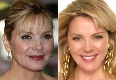 Kim Cattrall from Sex and the City, without and with Photoshop #airbrushed #beauty