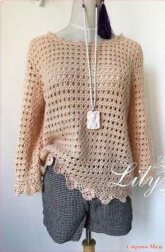 Ажурный пуловер с отделкой зубчиками. Крючок.