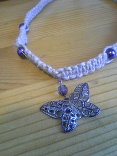 Butterfly Hemp Necklace, Purple Hemp Necklace, Up-cycled Necklace, Handmade Necklace, Butterfly, Purple, Hemp Necklace $20. #etsymntt #hemp