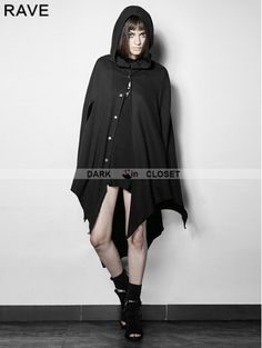 Punk Rave Black Gothic Dark Bats Tapered Conical Hat Cloak for Women