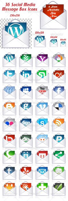 Social Media Message Box Icons  #GraphicRiver         Features   1. 100% vector   2. Easy to Edit   3. Ready to use!   4. All icons are separated in layers   If you like this, Please rate it.     Created: 29March11 GraphicsFilesIncluded: TransparentPNG #VectorEPS #AIIllustrator Layered: Yes MinimumAdobeCSVersion: CS3 PixelDimensions: 590x1750 Tags: blue #cleandesign #email #green #icons #message #messagebox #red #socialicons #socialmedia #socialmediaicons #socialmediaicons #vectoricons…