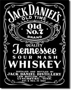 Jack Daniels Tin Sign Blackfeatures black background with an old number 7 logo…