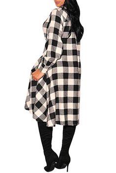 YUTRENDS Women Side Split Button Long Sleeve Plaid Tunic Tops Shirt Casual Dress