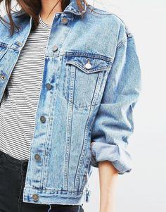 I have a dark blue jean jacket. I would like a white/black stripe top.